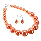 Jerollin Damen Halskette Statement Perlenkette aus Harzen Schmuck Set Perlenohrringen Statement Ohrstecker (Orange)