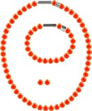 3er Schmuckset Perlenkette Medium mit original Swarovski Perlen 8mm, Farbe:Neon Orange Pearl