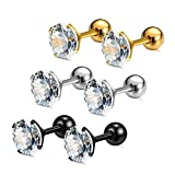 Charisma Stainless Steel Cartilage Stud Earrings For Women Screw Back Earrings Cubic Zirconia Helix Tragus Barbell (3 Pairs/4 Pairs)