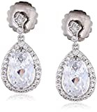 CZ by Kenneth Jay Lane Special Occasion Oval Pave Pear Cubic Zirconia Delicate Dangle Post Drop Earrings, 10 CTTW by CZ by Kenneth Jay Lane