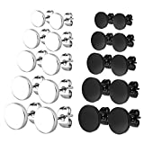 Charisma Stainless Steel Black Stud Earrings Pierced Tunnel for Men Women, Round Triangle 3mm-8mm 5/10 Pairs