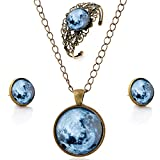 lureme Zeit Gem Series Jahrgang Earth Pendant Halskette Stud Ohrringe Hollow Blume Armreif Schmuck-Sets (09000614)