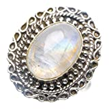 StarGems(tm) 925er Sterling Silber Moonstone Einzigartig Handgefertigt Ringe Numerous Colors Y4055