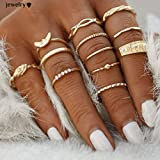 Elistelle 12 pcs Midi Ring Set Damen Boho Ringe Finger Tip Ring Schmuck