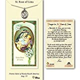 Pewter St. Rose of Lima medal on an 18 inch Lite Curb Chain with a Prayer to St Rose of Lima Prayer Card. by Bonyak Jewelry