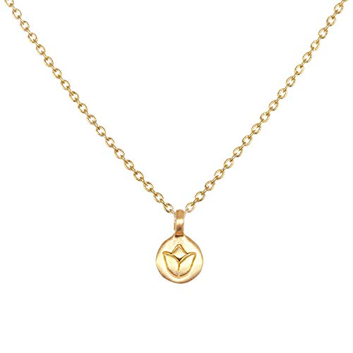 Satya Jewelry Kette Damen Gold - New Beginnings Necklace Mini Coin Anhänger Lotus Blüte - ca. 45 cm lang Silber 925 Vergoldet - NG207-L-18-B-NB