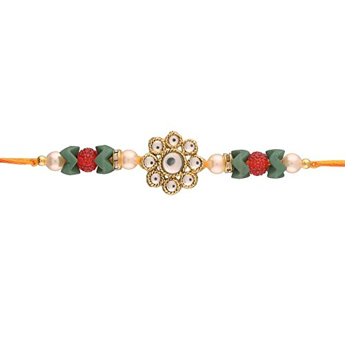 I Jewels Gold Plated Kundan and Stone Studded Rakhi for Brother (R613-R)
