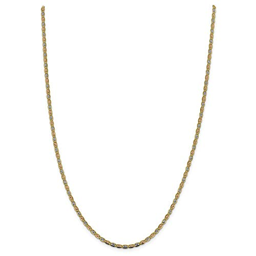 14K Yellow Gold and Rhodium 2.75mm Tri-Color Pave Valentino Chain Necklace - 18 Inch