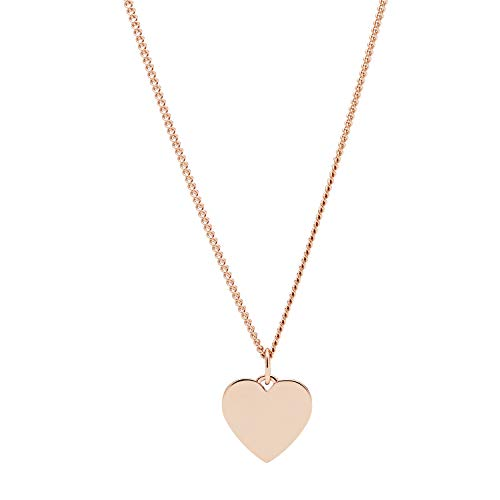 Fossil Damen Halskette Heart Rose Gold-Tone Stainless Steel Necklace, JF03021791