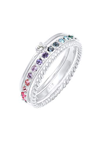 Elli Ring Damen Set Multi-Color Funkelnd mit Kristallen aus 925 Sterling Silber