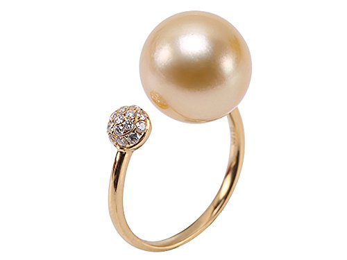 jyx Luxus 11,5 mm Golden rund South Sea Pearl Ring in 18 K Gold 29,2 cm