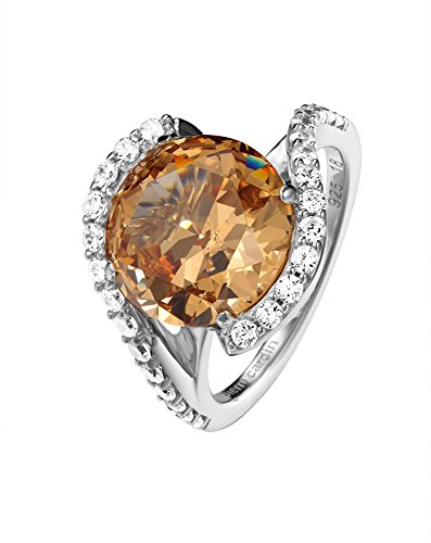 Pierre Cardin Damen-Ring Saint Ambroise 925 Silber Zirkonia orange Brillantschliff Gr. 53 (16.9) - PCRG90427F170