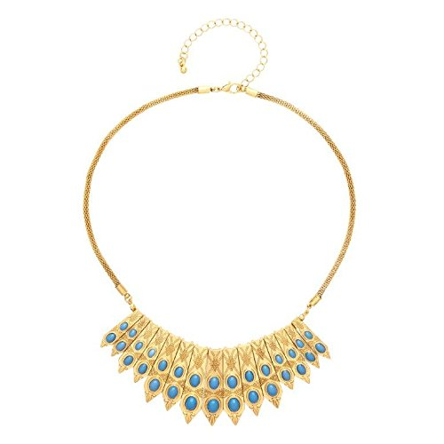 Front Row Gold Colour Turquoise Oval Bead Statement Necklace of Length 43-53cm