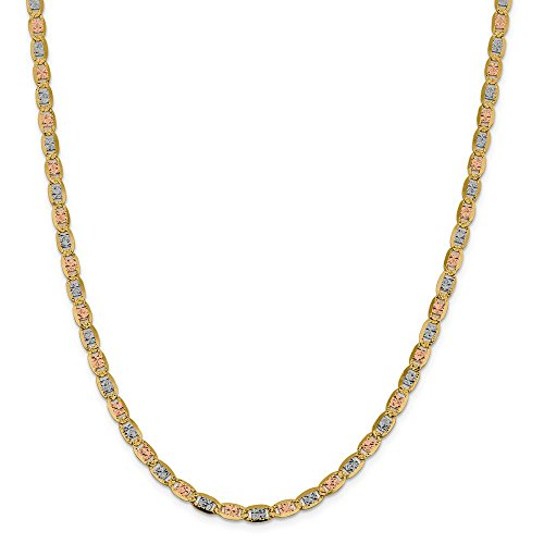 14K Yellow Gold and Rhodium 4.65mm Tri-Color Pave Valentino Chain Necklace - 24 Inch
