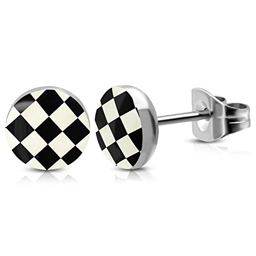 Bungsa Schachbrett schwarz-weiß Ohrstecker silber 6mm - 1 Paar Edelstahl (Ohrringe Ohrschmuck Checker Grid Ohrklemmen Damen Frauen Herren Mode Studs Earrings)