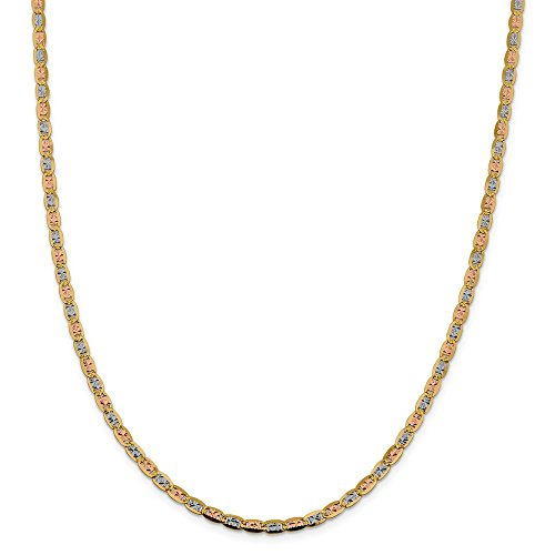 14K Yellow Gold and Rhodium 3.8mm Tri-Color Pave Valentino Chain Necklace - 18 Inch