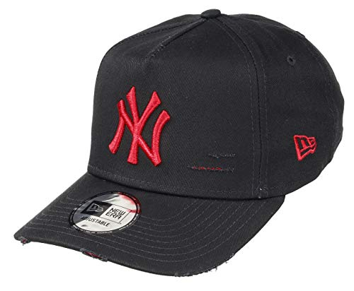 New Era New York Yankees 9forty A-Frame Adjustable Cap - Distressed - Black/Scarlet - One-Size