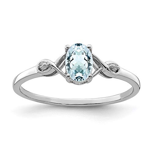 Ryan Jonathan Fine Jewelry Sterling Silver Diamond and Oval A18.25uamarine Ring, Size 19