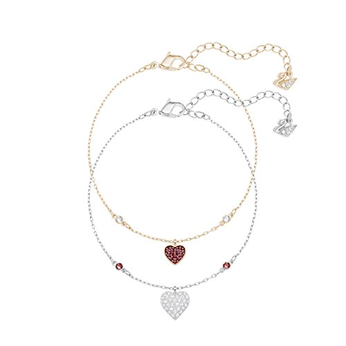 Swarovski Crystal Wishes Heart Armband Set, rot, Metallmix
