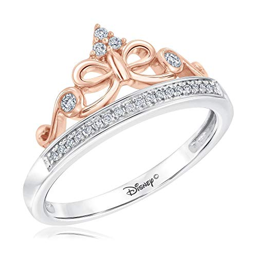 Disney Enchanted Fine Jewelry Snow White Tiara Princess Ring 1/10ctw - Size 5.5