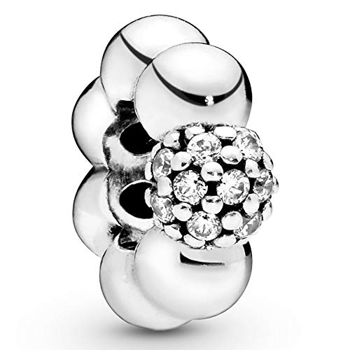 Sterling silver spacer with clear cubic zirconia