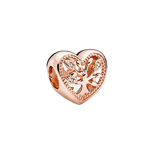 Family tree heart Pandora Rose charm with clear cubic zirconia