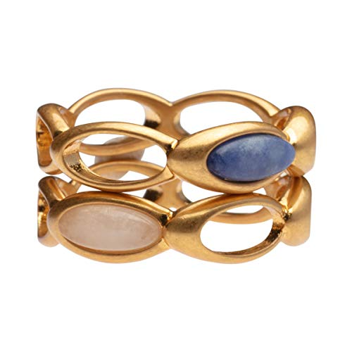 SENCE Copenhagen Aurora stacked Ring with Sodalite & pink Opal in gold G658A