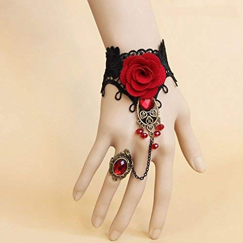 Five Season 1pcs Handmade Retro Black Lace Vampire Slave Bracelet With Fabric Flower And Red Resin Gothic Style by Five Season
