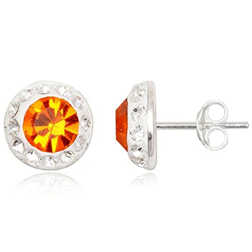 EYS JEWELRY Damen-Ohrstecker rund 925 Sterling Silber Preciosa Elements Glitzer Kristalle 10 x 10 mm sonnen-orange Ohrringe