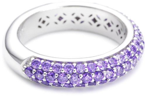Esprit Collection Damen-Ring 925 Sterling Silber rhodiniert Kristall Zirkonia amorbess passion violett Gr.56 (17.8) ELRG91400C180