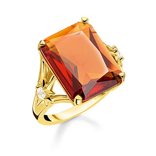 Thomas Sabo Damen-Ring Stein Orange groß mit Stern 925 Sterlingsilber gelbgold vergoldet TR2261-971-8-50