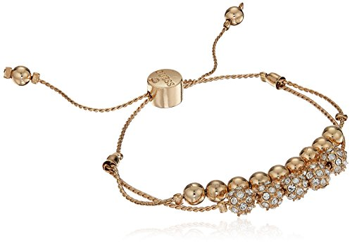 GUESS Womens Double Row Round Bead and Fireball Slider Bracelet