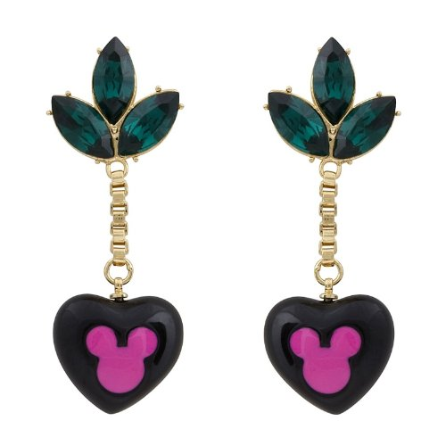 Mawi for Disney Couture Green Crystal & Heart Earrings