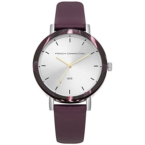 French Connection Damen Datum klassisch Quarz Uhr mit Leder Armband FC1315V