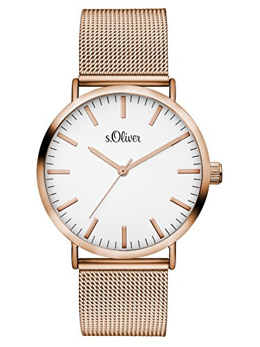 S.Oliver Damen Analog Quarz Armbanduhr SO-3146-MQ, IP Roségold-Weiß