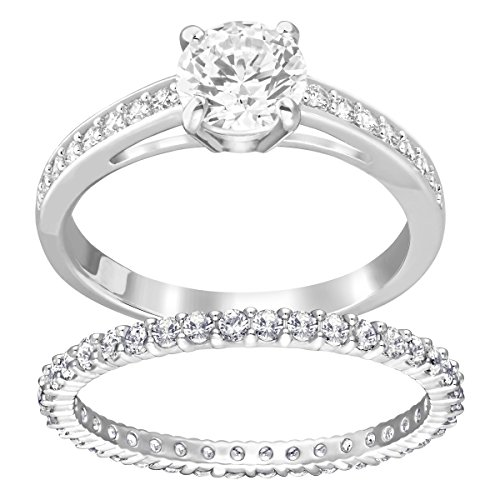 Swarovski Attract Ring Set, Pair of Women's Rhodium Plated Crystal Rings with a Round White Chaton, Size 60, Part of the Attract Collection