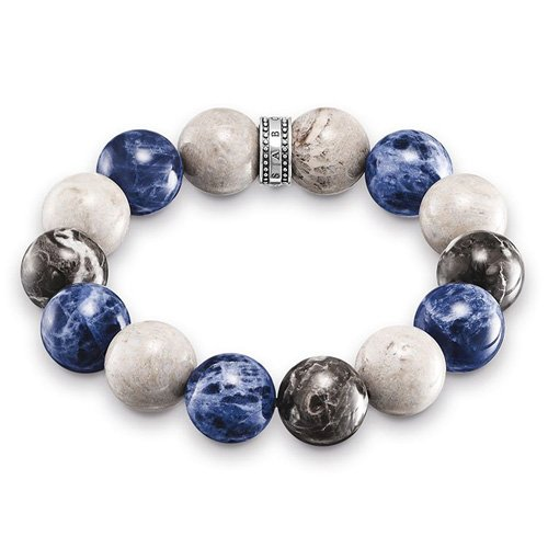 Thomas Sabo Herren-Armband Power Bracelet Blau, Beige, Grauf Rebel at Heart 925 Sterling Silber mehrfarbig 16 cm A1580-362-7-L16