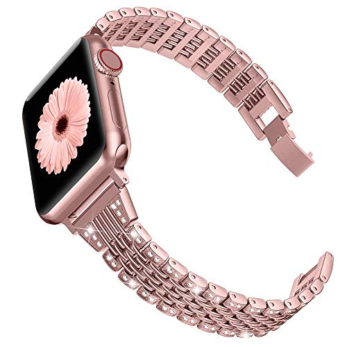 Wearlizer für Apple Watch Armband 38mm (40mm Series 5 4), Metall Strass Watch Ersatzband für iWatch/Apple Watch Serie 4 Serie 3 Serie 2 Serie 1, Rose Gold 38mm 40mm