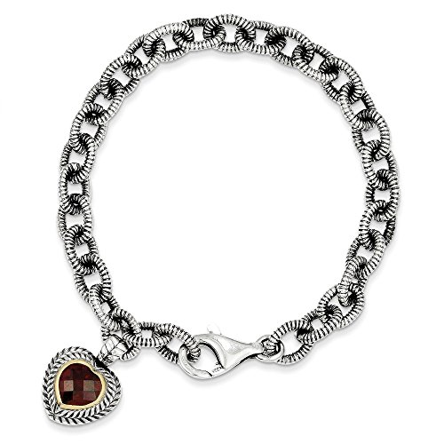 Jewels By Lux Sterling Silber w/14kt Granat Herz Link Armband, Gem ctw. 1,67
