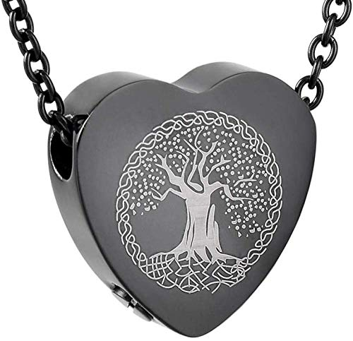 YUIR Halskette für Asche Asche Halskette für Verbrennung Schmuck Tree of Life in The Heart of The Pendant Stainless Steel Cremation Jewelry and Pendant Commemorative Ashtray Ashes Necklace