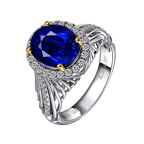 YCGEMS 18 Karat Weißgold Blue Sapphire & Diamond Damen Eternity Ring, Hochzeit Engagement Schmuck (5.29CT, Royal Blue),J