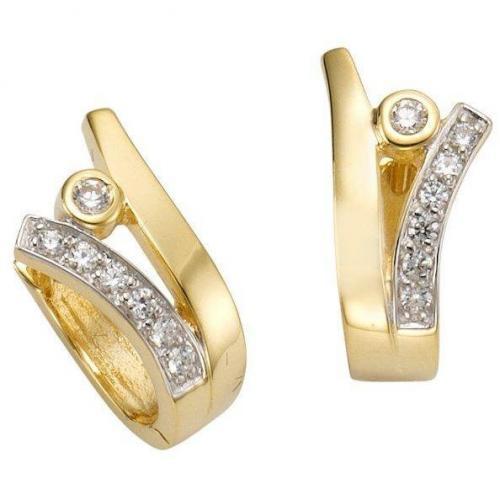Celesta Ohrringe gold/weiß Creolen