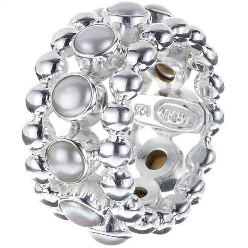 chilili Ring silber dreireihiger Sterlingsilberring Süßwasserperlenbesatz