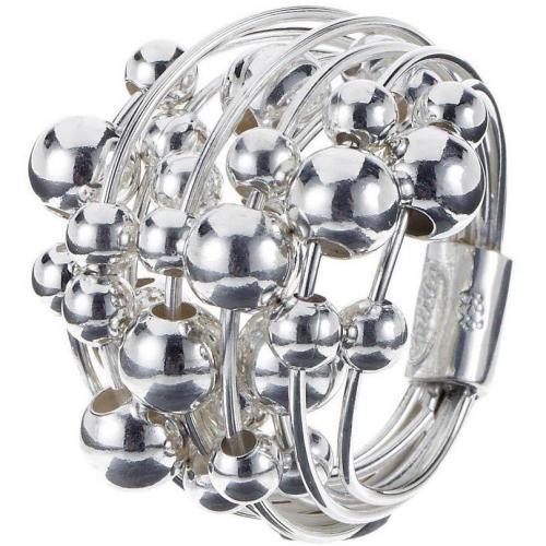 chilili Ring silber Ring aus feinen Streben mit beweglichen Kugeln