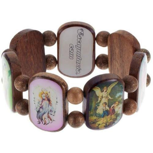 Escapulario Armband braun/multi Holzplättchen