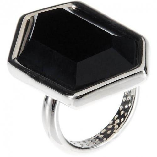 French Connection Geometric Facet Ring jet/rhodium