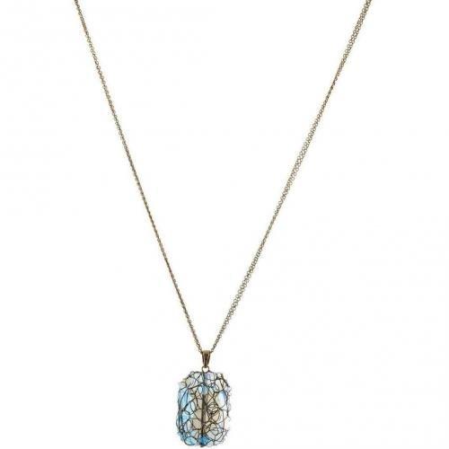 Konplott Halskette blue großer umwickelter Stein mit 4 cm Länge