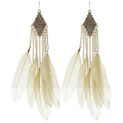 Lipsy Feather Chandelier Ohrringe gold/cream