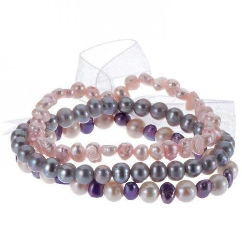 Lulu Jane 3er Set Armband rosa/grau/weiß/flieder