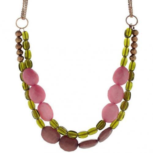 Nice Things Halskette grün/rosa/gold